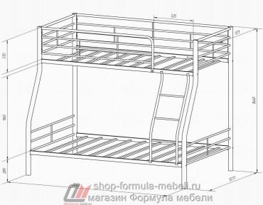 двухъярусная кровать Гранада-2 П размеры