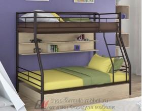 двухъярусная кровать Гранада-2 ПЯ цвет коричневый / дуб молочный Формула мебели