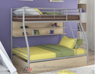 двухъярусная кровать Гранада-2 ПЯ цвет серый / дуб молочный
