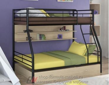 двухъярусная кровать Гранада-2 ПЯ цвет чёрный / дуб молочный