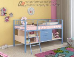 кровать чердак Севилья-Я мини цвет: голубой / дуб молочный / голубой