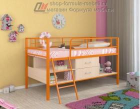 кровать чердак Севилья-Я мини цвет: оранжевый / дуб молочный / дуб молочный