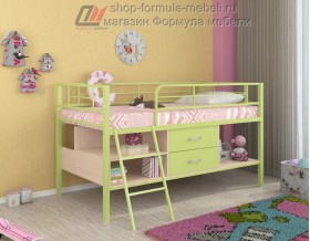 кровать чердак Севилья-Я мини цвет: салатовый / дуб молочный / салатовый