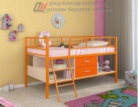 кровать чердак Севилья-Я мини цвет: оранжевый / дуб молочный / оранжевый
