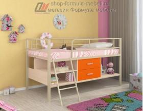 кровать чердак Севилья-Я мини цвет: слоновая кость /  дуб молочный / оранжевый