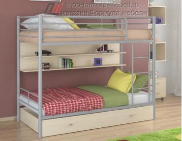 двухъярусная кровать Севилья-3 ПЯ цвет серый / дуб молочный, Формула мебели