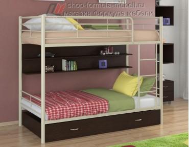 двухъярусная кровать Севилья-3 ПЯ цвет бежевый / венге, Формула мебели