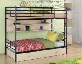 двухъярусная кровать Севилья-3 ПЯ цвет чёрный / дуб молочный, Формула мебели