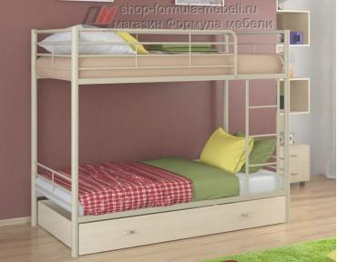 двухъярусная кровать Севилья-3 Я цвет бежевый / дуб молочный, Формула мебели