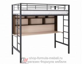Севилья-1.2 кровать чердак металл чёрный, цвет лдсп стол-полка: дуб молочный - венге, Формула мебели