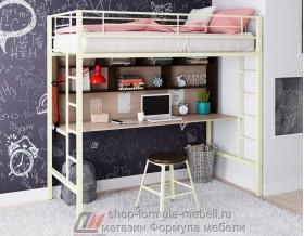 Севилья-1.2 кровать чердак металл слоновая кость, цвет лдсп стол-полка: дуб молочный - венге