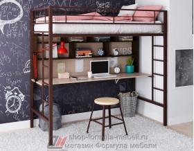 Севилья-1.2 кровать чердак металл коричневый, цвет лдсп стол-полка: дуб молочный - венге