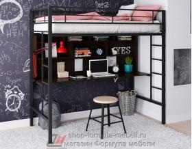 Севилья-1.2 кровать чердак металл чёрный, цвет лдсп стол-полка: венге