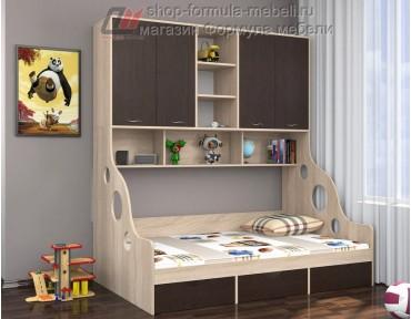 кровать с антресолью Дельта 21.01 полуторка цвет дуб Сонома / венге, Формула мебели