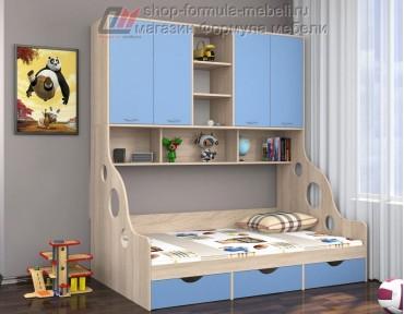 кровать с антресолью Дельта 21.01 полуторка цвет дуб Сонома / голубой, Формула мебели