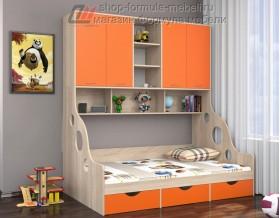 кровать с антресолью Дельта 21.01 полуторка цвет дуб Сонома / оранжевый, Формула мебели