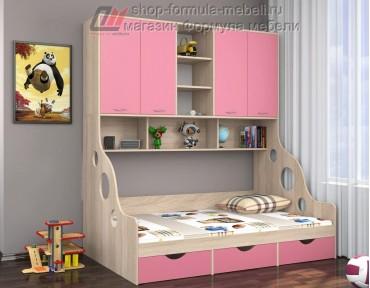 кровать с антресолью Дельта 21.01 полуторка цвет дуб Сонома / розовый, Формула мебели