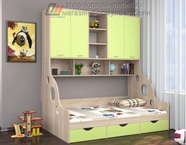 кровать с антресолью Дельта 21.01 полуторка цвет дуб Сонома / салатовый, Формула мебели