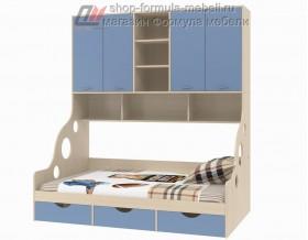 кровать с антресолью Дельта 21.01 полуторка цвет дуб молочный / голубой, Формула мебели