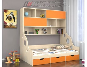 кровать с антресолью Дельта 21.02 полуторка цвет оранжевый, Формула мебели