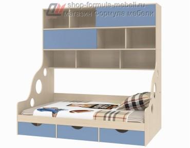 кровать с антресолью Дельта 21.02 полуторка цвет дуб молочный / голубой, Формула мебели