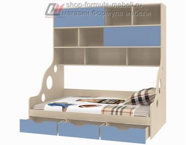 кровать с антресолью двери купе Дельта 21.02 полуторка цвет дуб молочный / голубой, Формула мебели