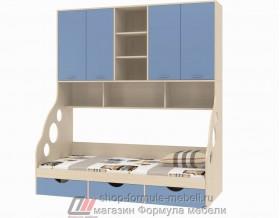 кровать с антресолью Дельта 21.11 цвет дуб молочный / голубой, Формула мебели