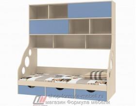 кровать с антресолью Дельта 21.12 цвет дуб молочный / голубой, Формула мебели