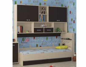 кровать с антресолью Дельта 21.03 цвет дуб молочный / венге, Формула мебели