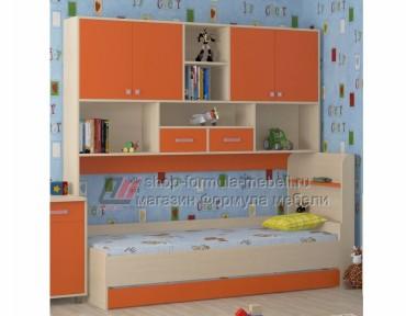 кровать с антресолью Дельта 21.03 цвет дуб молочный / оранжевый, Формула мебели