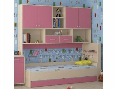 кровать с антресолью Дельта 21.03 цвет дуб молочный / розовый, Формула мебели