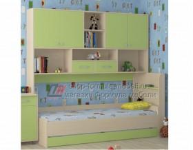 кровать с антресолью Дельта 21.03 цвет дуб молочный / салатовый, Формула мебели
