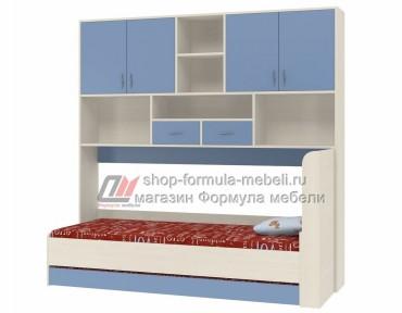 кровать с антресолью Дельта 21.03 цвет дуб молочный / голубой, Формула мебели