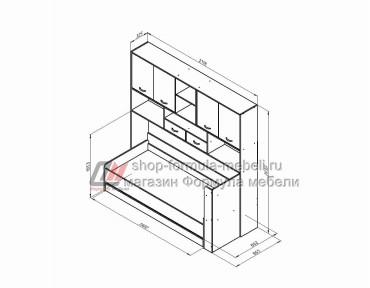 кровать с антресолью Дельта 21.03 размеры