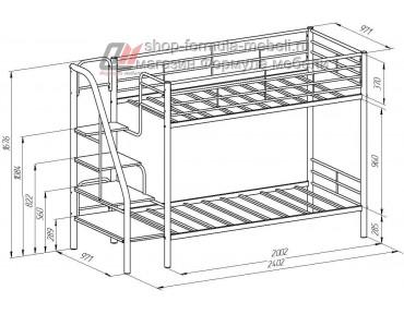 двухъярусная кровать Толедо схема с размерами