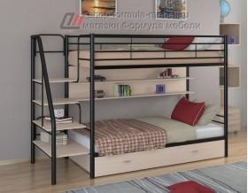 двухъярусная кровать Толедо ПЯ цвет чёрный / дуб молочный