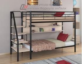 двухъярусная кровать Толедо П цвет чёрный / дуб молочный