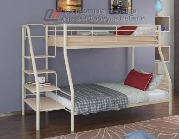 двухъярусная кровать Толедо-1 цвет слоновая кость / дуб молочный, Формула мебели