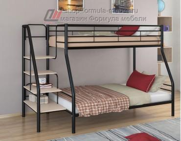 двухъярусная кровать Толедо-1 цвет чёрный / дуб молочный