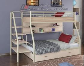 двухъярусная кровать Толедо-1 ПЯ цвет слоновая кость / дуб молочный