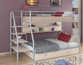 двухъярусная кровать Толедо-1 ПЯ цвет серый / дуб молочный, Формула мебели
