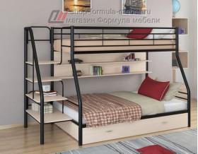 двухъярусная кровать Толедо-1 ПЯ цвет чёрный / дуб молочный