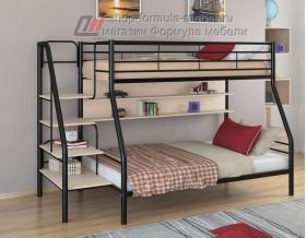 двухъярусная кровать Толедо-1 П цвет чёрный / дуб молочный