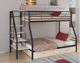 двухъярусная кровать Толедо-1 Я цвет чёрный / дуб молочный, Формула мебели