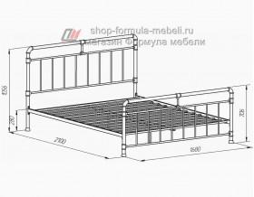 металлическая кровать Авила,  размеры