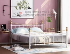металлическая двухспальная кровать Эльда, цвет белый / золото