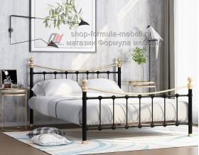 металлическая двухспальная кровать Эльда, цвет чёрный / золото