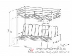 двухъярусная кровать с диваном Мадлен-2 размеры