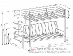 двухъярусная кровать с диваном Мадлен-3 размеры