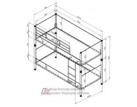 Дельта-Лофт-20.02.02 кровать двухъярусная размеры